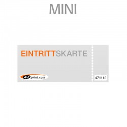 Eintrittskarte Mini 85 x 55 mm - 1 x nummeriert und 1 x perforiert