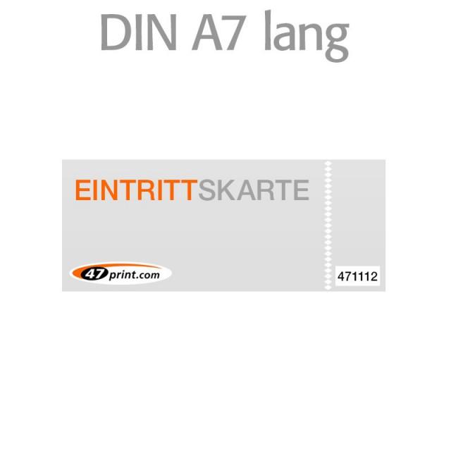 Eintrittskarte DIN A7 lang 148 x 52 mm - 1 x nummeriert und 1 x perforiert