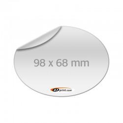 Aufkleber oval 98 x 68 mm, outdoor Haftfolie weiß mit Hochglanz-UV-Lack