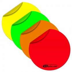 Neon Aufkleber rund 40 mm Durchmesser, Haftpapier neonfarbig