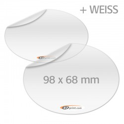 Transparente Aufkleber mit Weiß, oval 98 x 68 mm