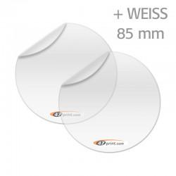 Transparente Aufkleber mit Weiß, rund 85  mm