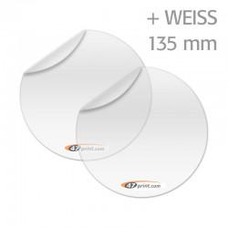 Transparente Aufkleber mit Weiß, rund 135 mm