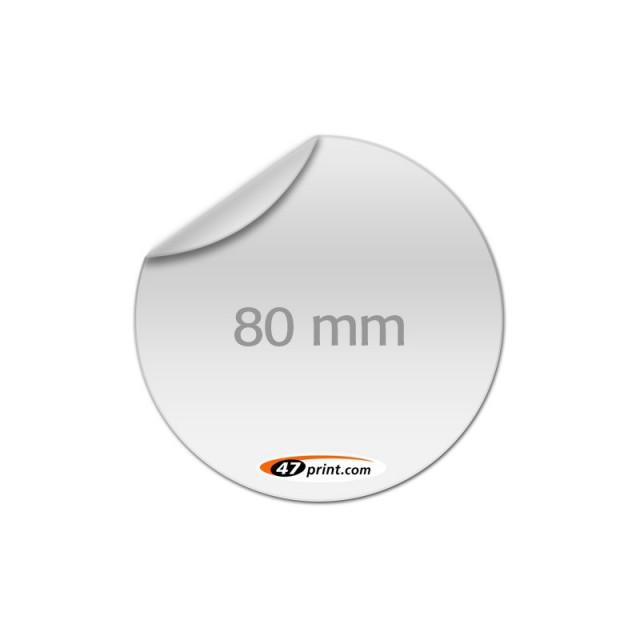 Aufkleber rund 80 mm Durchmesser, outdoor Haftfolie weiß mit Hochglanz-UV-Lack