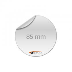 Aufkleber rund 85 mm, outdoor, Haftfolie weiß mit Lack matt oder glänzend