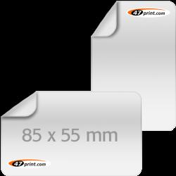 Aufkleber 85 x 55 mm, abgerundet, outdoor Haftfolie weiß mit Hochglanz-UV-Lack (Visitenkartenformat)