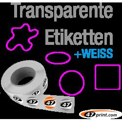 Transparente Etiketten mit Weißdruck