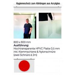 Hygieneschutz zum Abhängen aus Acrylglas